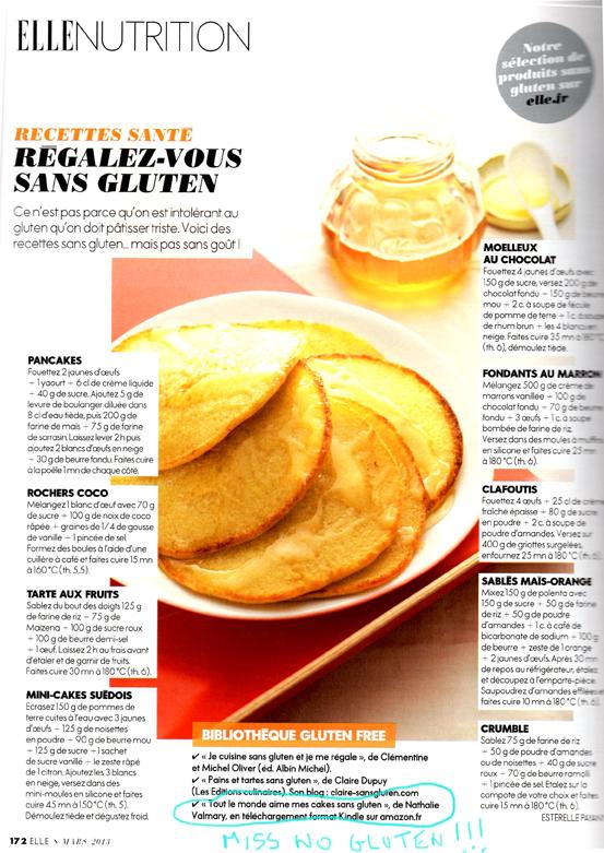Magazine ELLE et Miss No Gluten